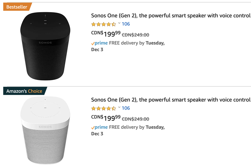 Sonos one sale 20 off amazon