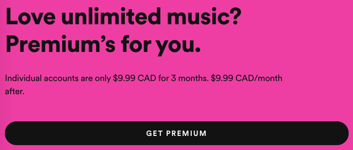 Spotify premium holiday