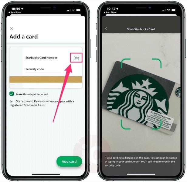 Starbucks scan card