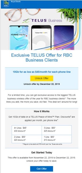 Telus offer rbc small business