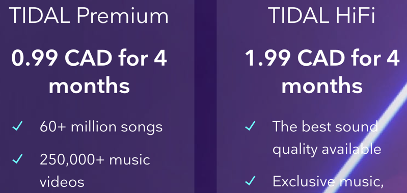 Tidal offers 2