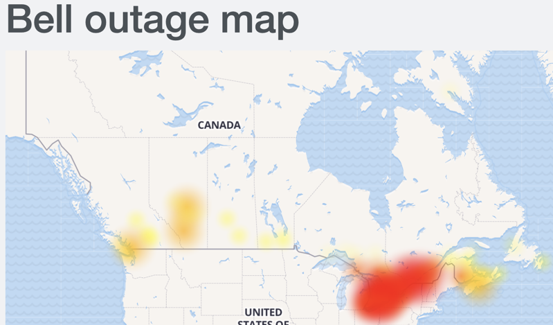 Bell outage map Dec 9