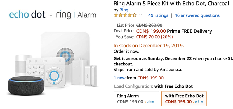 Echo dot ring alarm