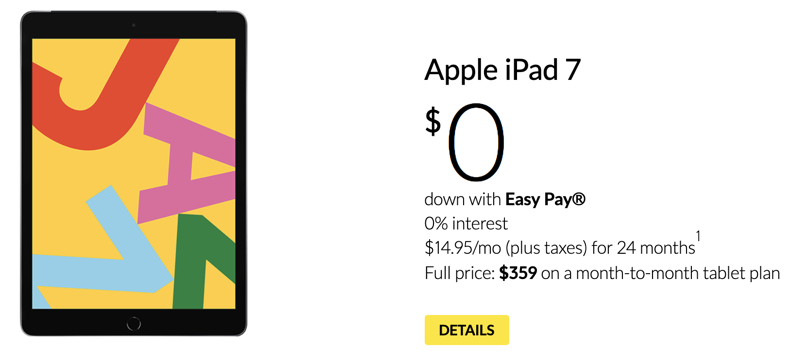 Ipad 7 for $359 fido