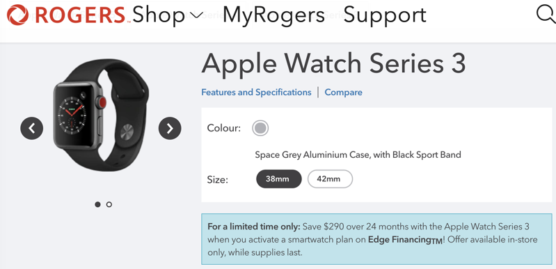 Rogers apple watch series 3 lte clearance