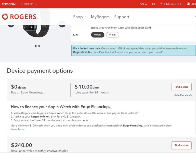 Rogers apple watch series 4 deal