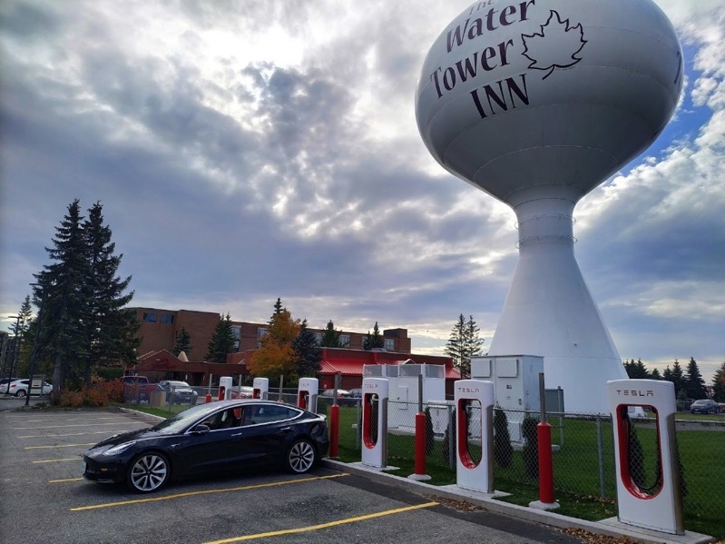 Tesla supercharger water tower inn