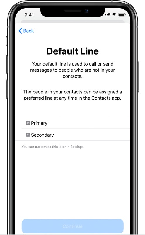 Ios13 iphone xs setup dual sim default line cropped