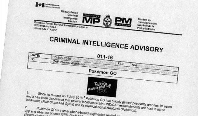 Pokemon criminal intelligence advisory
