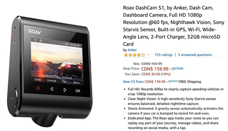 Roav dashcam sale
