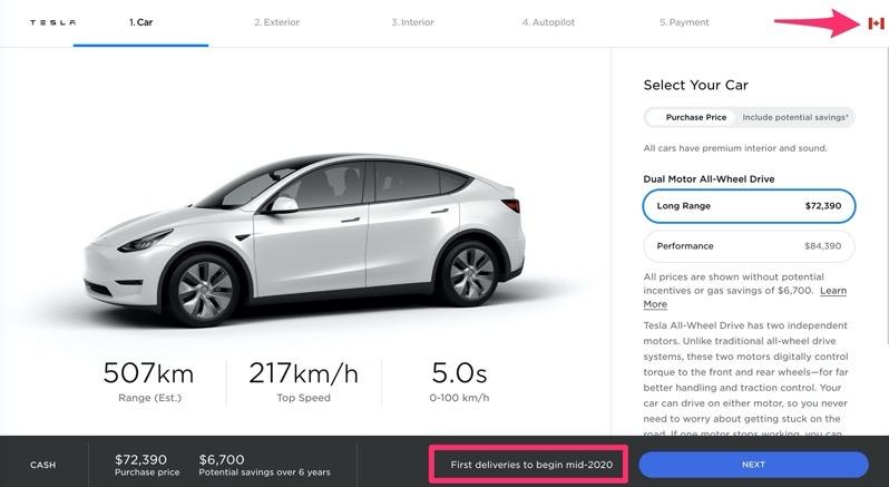 Tesla model y canada