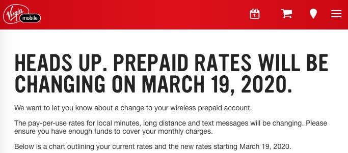 Virgin prepaid rates increase