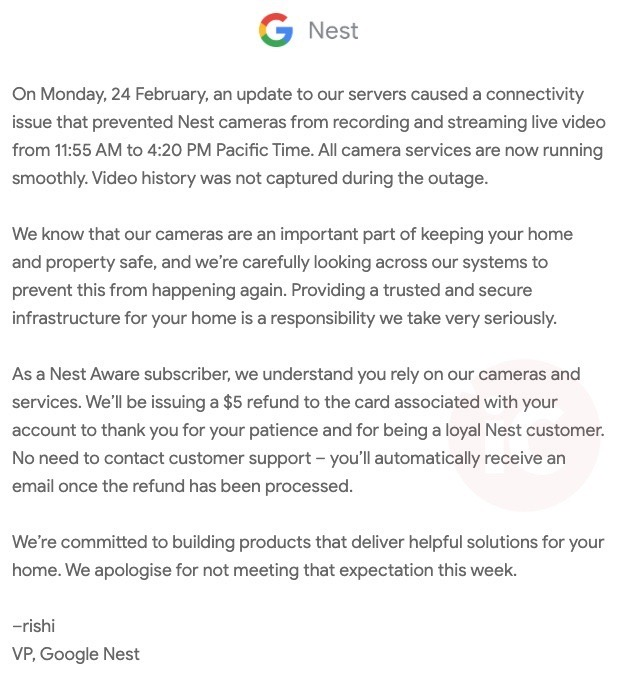 Nest refund outage