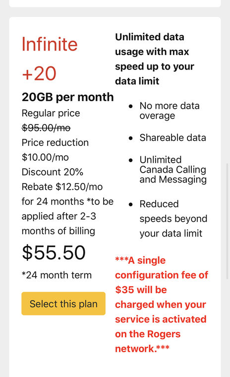 Rogers EPP plan $55 20gb