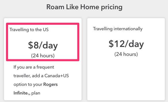 Rogers roam 8 per day