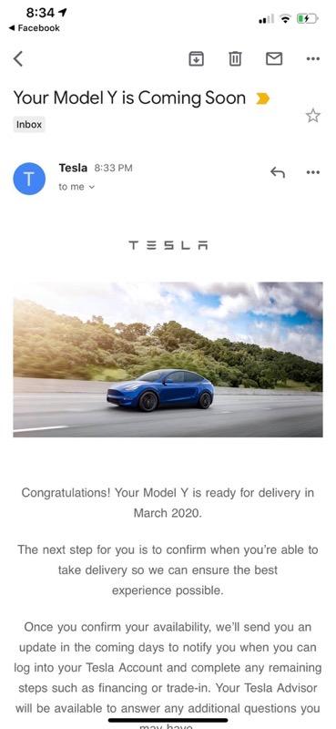 Tesla model y delivery