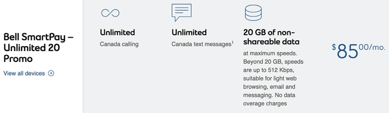 Bell $85 20gb march 2020