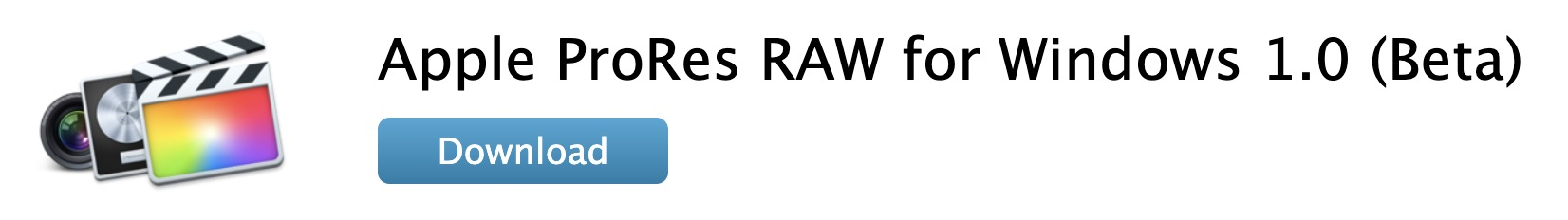 Apple ProRes RAW for Windows 1.0 (Beta) Download Now Available