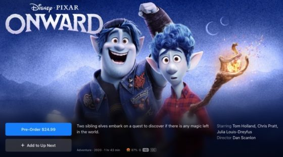 Pixar Film 'Onward' Launches on iTunes Canada March 22, Coming Soon to Disney+ [u]