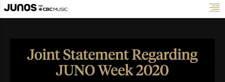 Juno awards cancelled