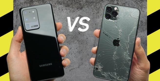 Samsung galaxy s20 ultra vs iphone 11 pro max drop test