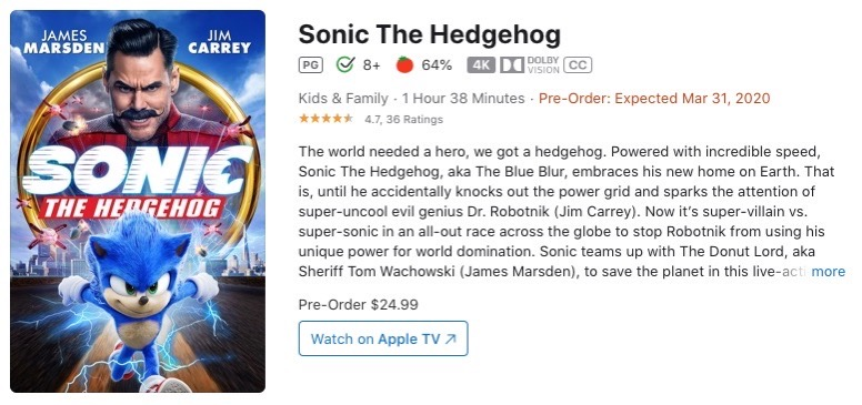 Sonic the hedghog itunes