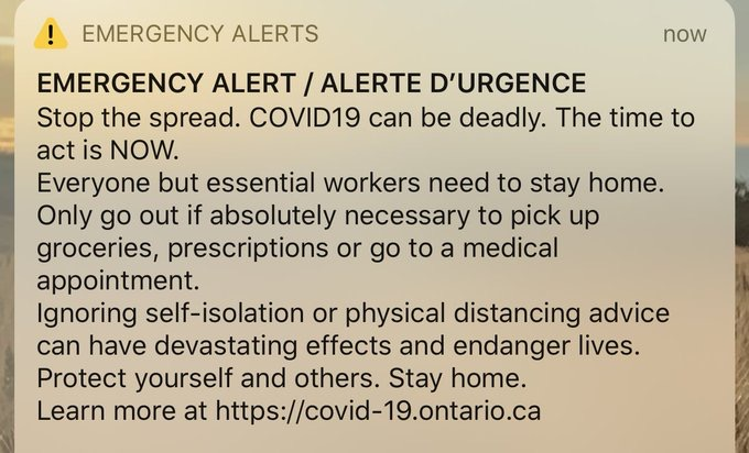 Emergency alert ontario
