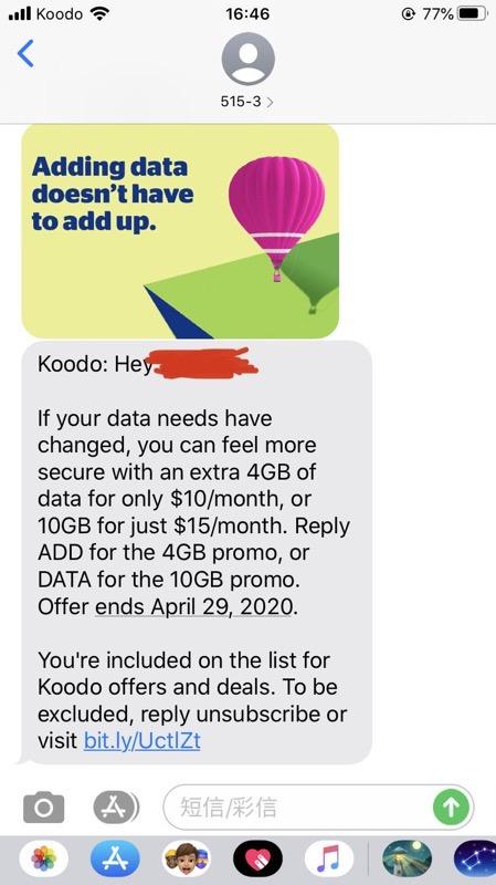 Koodo extra 10gb