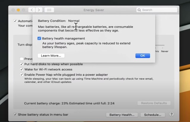 MacOS 10 15 5 battery health