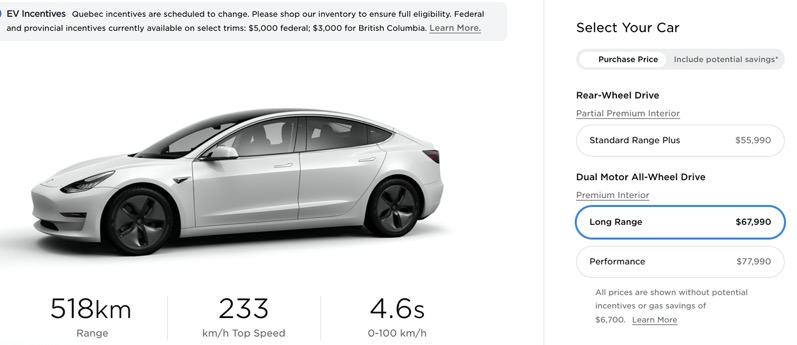 Model 3 price increase canada