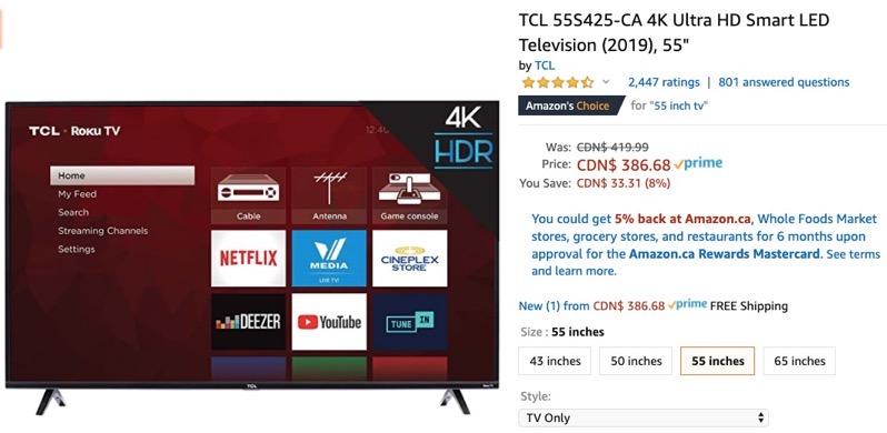 Tcl 55 inch tv amazon