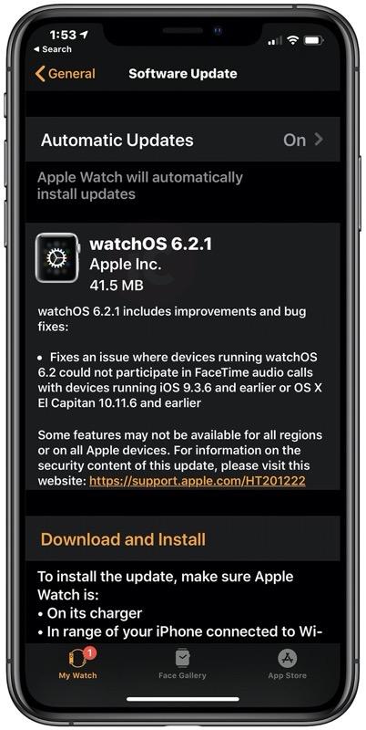 WatchOS 6 2 1 download