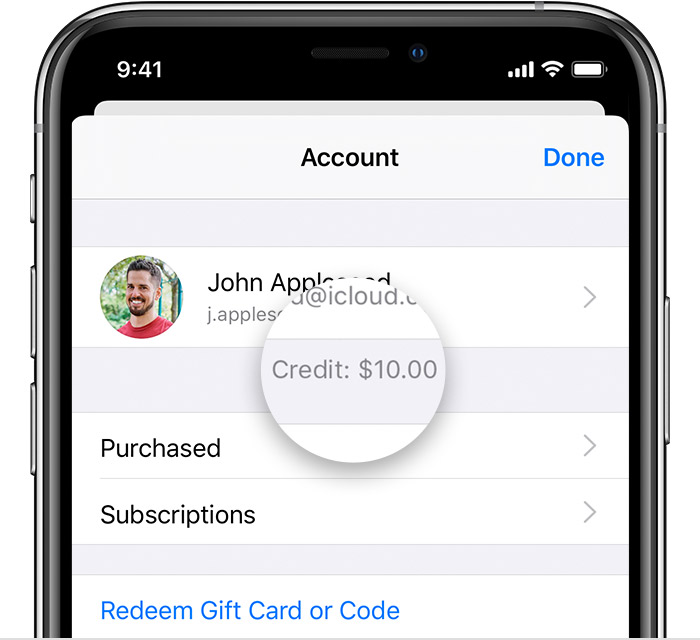 Ios13 iphone xs app store account credit callout