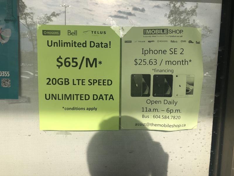 Rogers telus bell $65 20gb