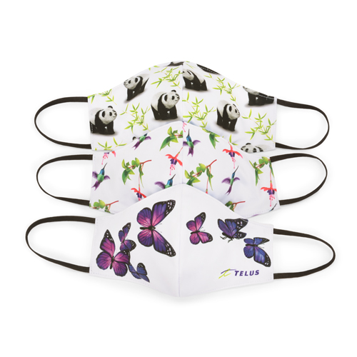 Trio Masks Panda Hummingbird butterflies