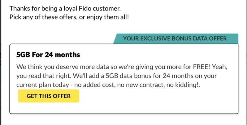 Fido 5gb data bonus offer RFD