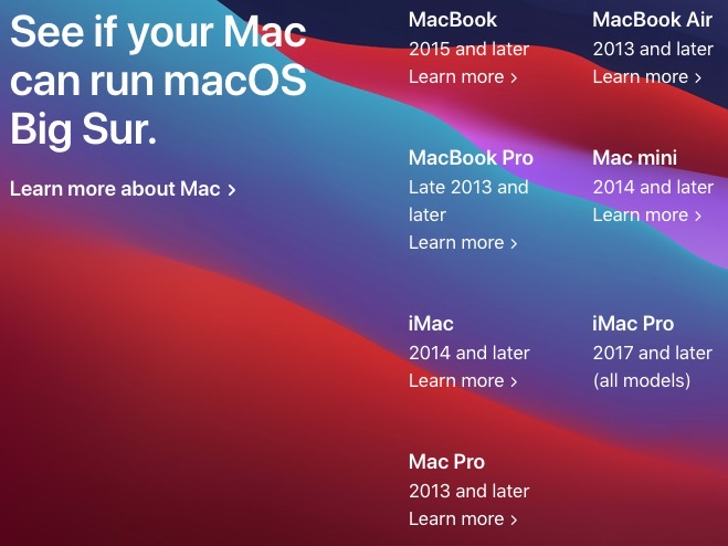 MacOS big sur compatible macs