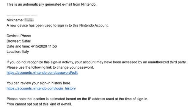 Nintendo email