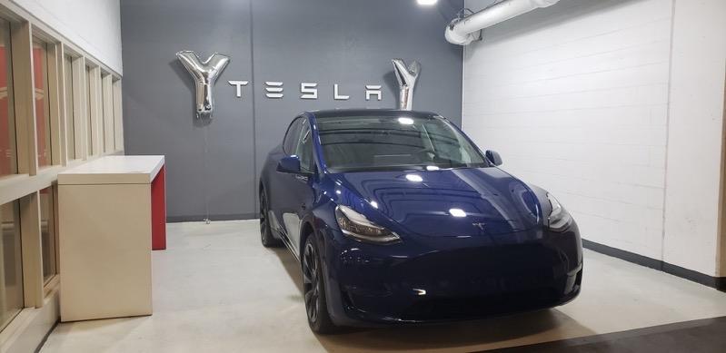 Tesla model y blue vancouver
