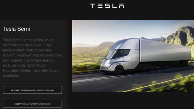 Tesla semi pre orders canada