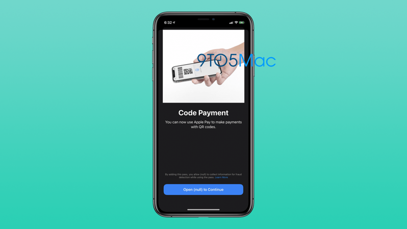 Apple Pay bar code payment copy