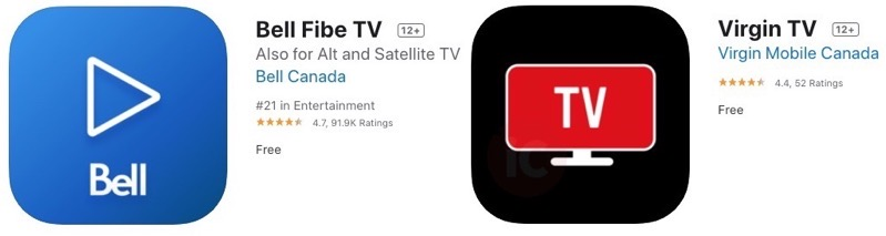 Bell fibe virgin tv ios