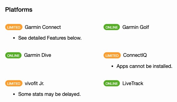 Garmin connect platforms