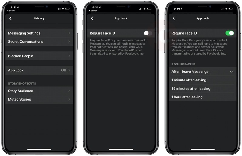 Messenger app lock face id
