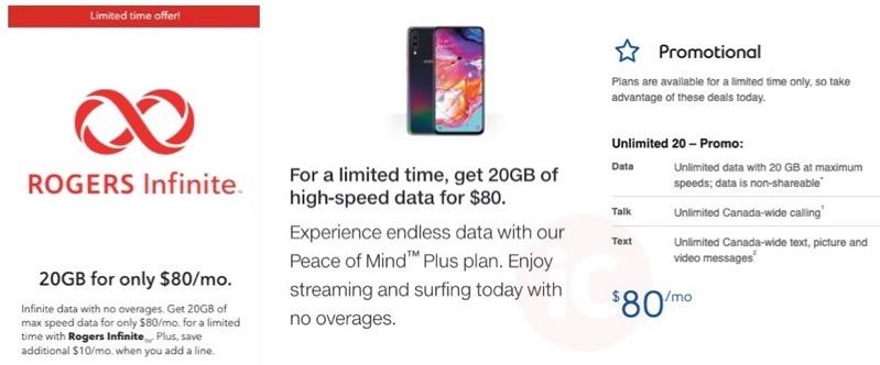Rogers telus bell $80 20gb promo