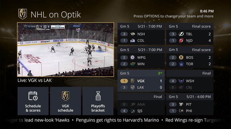 Home NHL on Optik Playoffs