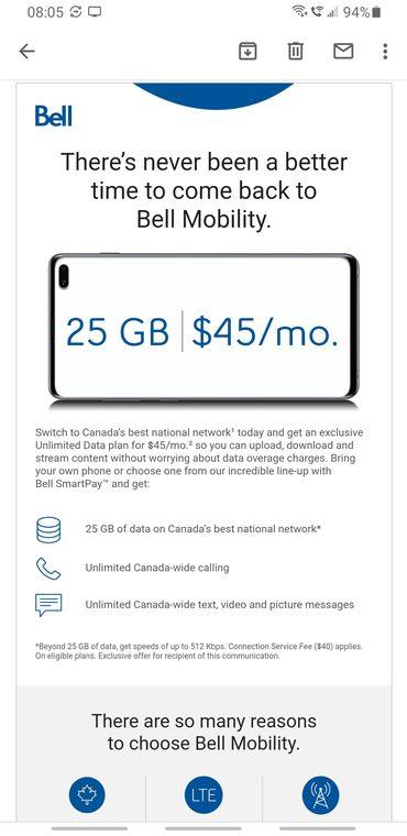 Bell $45 25gb win back