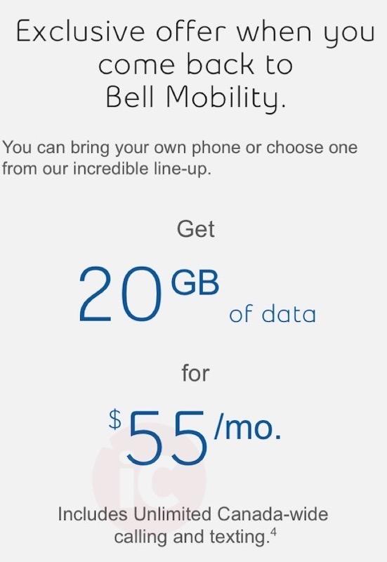 Bell winback $55 20gb