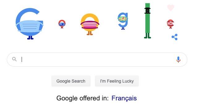 Google doodle canada mask