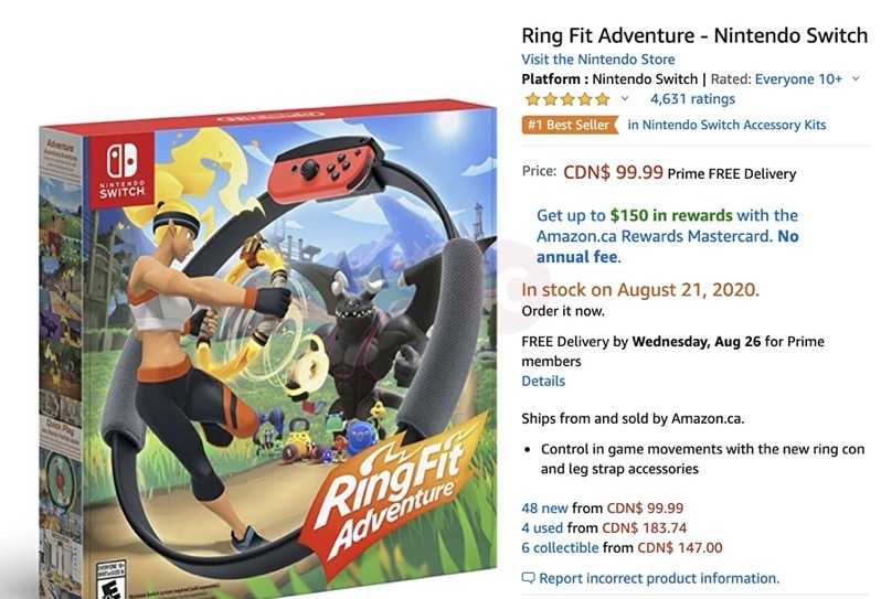 Ring fit adventure in stock amazon